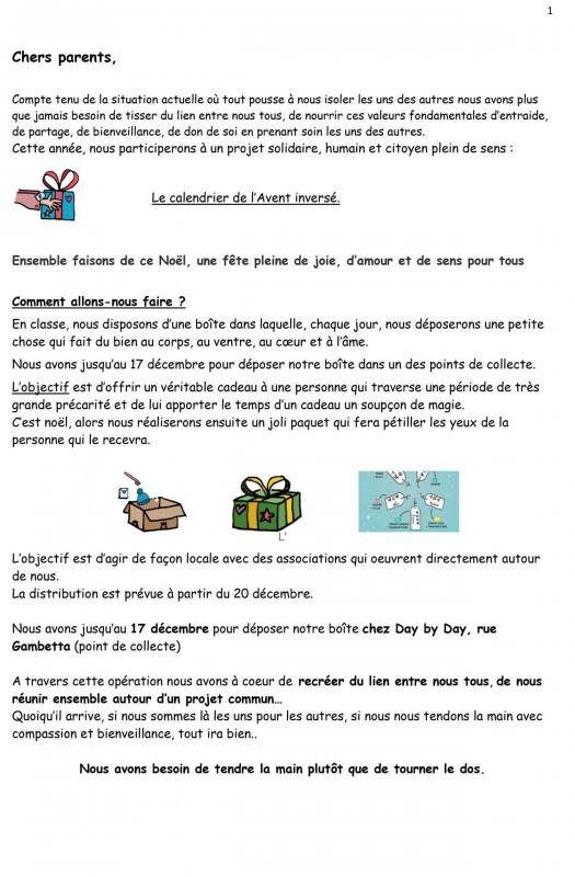 Calendrier inverse parents info 1