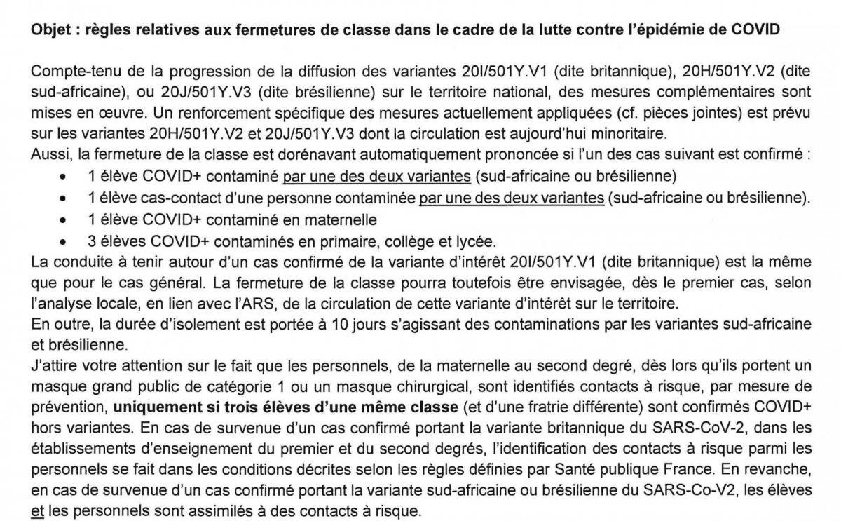 Courrier fermetures covid