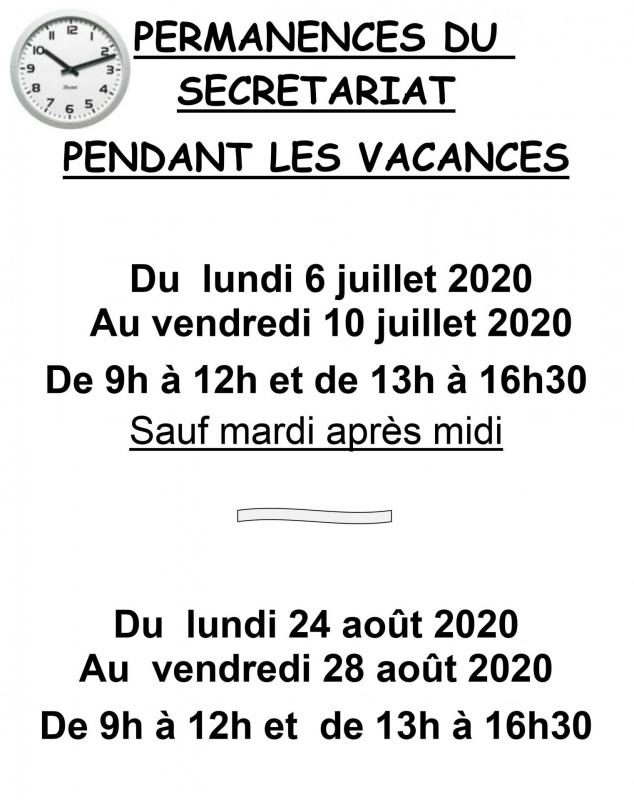 Permanences vacances au secretariat 1