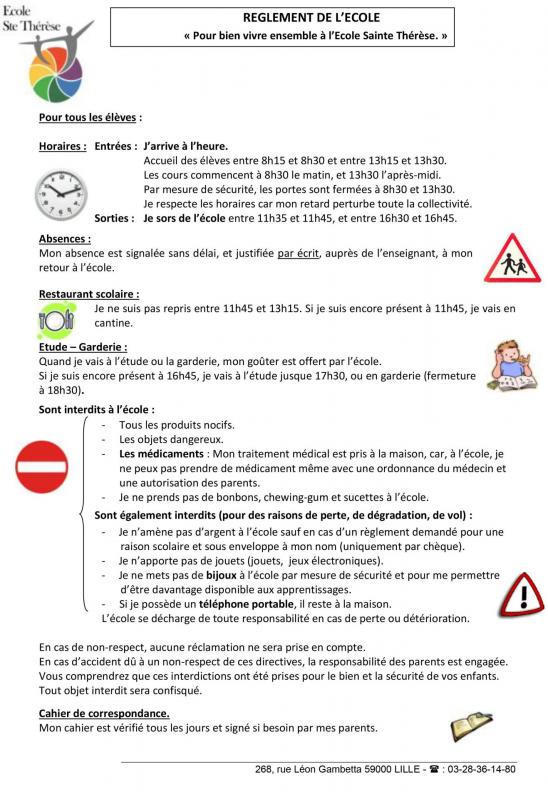 Reglement interieur affiche ecole ste therese 1